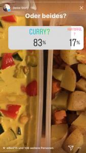 Instagram Umfrage mit Essen