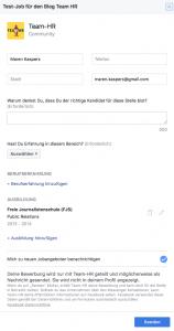 Bewerbungsmaske auf Facebook